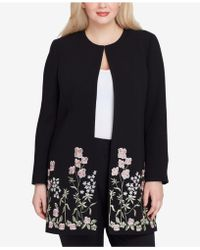 Tahari - Plus Size Embroidered Topper Jacket - Lyst