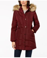 Jones New York - Faux-fur-trim Hooded Puffer Coat - Lyst