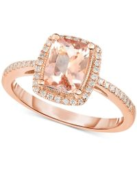 Macy's - Morganite (1-1/3 Ct. T.w.) & Diamond (1/5 Ct. T.w.) Ring In 14k Rose Gold - Lyst