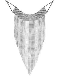 """Guess - Silver-tone Crystal Rhinestone Fringe Statement Necklace, 12"""" + 2"""" Extender - Lyst"""
