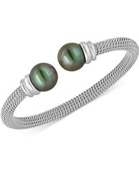 Majorica - Bracelet, Organic Man Made Black Pearl And Stainless Steel Bangle Bracelet - Lyst