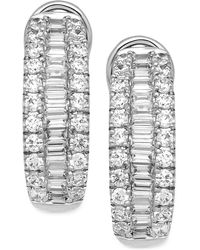 Macy's | Diamond Hoop Earrings (1-1/2 Ct. T.w.) In 14k White Gold | Lyst