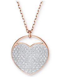 "Swarovski - Rose Gold-tone Ginger Pavé Heart 15-2/3"" Pendant Necklace - Lyst"
