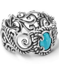 Carolyn Pollack - Turquoise (5x7mm) Scroll Band Ring In Sterling Silver - Lyst