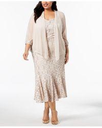 e7752f1ccc8cf R   M Richards - Plus Size Embellished Lace Dress   Jacket - Lyst