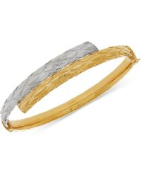Macy's - Two-tone Textured Bypass Bangle Bracelet In 14k Gold & White Gold - Lyst