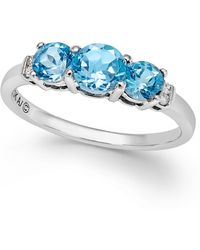 Macy's - Blue Topaz (1-1/4 Ct. T.w.) And Diamond Accent Three-stone Ring In Sterling Silver - Lyst