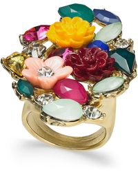 INC International Concepts - I.n.c. Gold-tone Stone & Flower Motif Statement Ring, Created For Macy's - Lyst