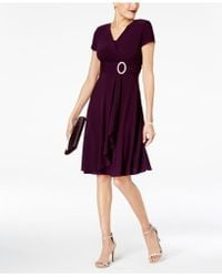 R & M Richards - Dress, Short-sleeve Faux-wrap - Lyst