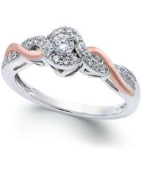 Macy's - Diamond Twist Promise Ring In Sterling Silver And 14k Rose Gold (1/5 Ct. T.w.) - Lyst