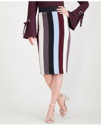 INC International Concepts - I.n.c. Plus Size Metallic Striped Skirt, Created For Macy's - Lyst