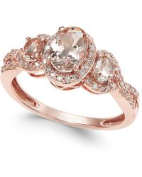 Macy's - Morganite (3/4 Ct. T.w.) And Diamond (1/4 Ct. T.w.) Ring In 14k Rose Gold - Lyst