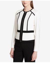 Calvin Klein   Contrast-trim Collarless Jacket, Regular & Petite   Lyst