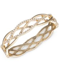 Anne Klein Gold Tone Braided Style Pavé Bangle Bracelet Lyst