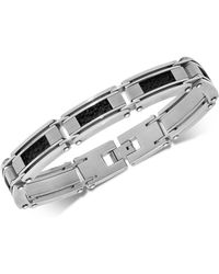 Macy's - Leather Inlay Link Bracelet In Stainless Steel - Lyst