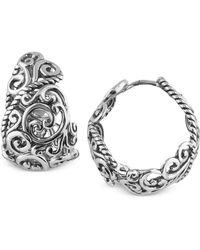 Carolyn Pollack - Rope Swirl Hoop Earrings In Sterling Silver - Lyst