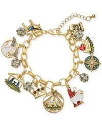 Charter Club - Holiday Lane Gold-tone Crystal, Stone & Epoxy Holy Christmas Story Charm Bracelet, Created For Macy's - Lyst