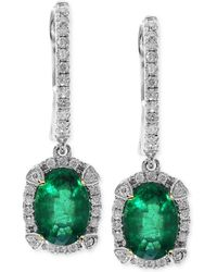 Effy Collection - Brasilica By Effy Emerald (1-1/2 Ct. T.w.) And Diamond (1/4 Ct. T.w.) Earrings In 14k White Gold, Created For Macy's - Lyst