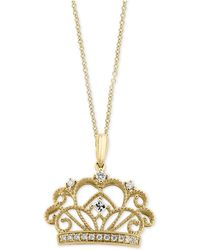 Effy Collection - Diamond Crown Pendant Necklace (1/8 Ct. T.w.) In 14k Gold - Lyst