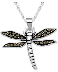 """Macy's - Marcasite Dragonfly 18"""" Pendant Necklace In Fine Silver-plate - Lyst"""