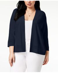 Charter Club - Plus Size Openwork-trim Cardigan, Created For Macy's - Lyst