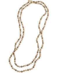 Carolee - Gold-tone Grey Imitation Pearl Long Length Necklace - Lyst