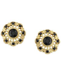 2028 - Gold-tone Jet Filigree Button Earrings - Lyst