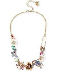 """Betsey Johnson - Gold-tone Stone & Bead Insect Collar Necklace, 15-1/2"""" + 3"""" Extender - Lyst"""
