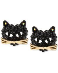 Betsey Johnson - Two-tone Pavé Black Crystal Cat Stud Earrings - Lyst