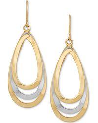 Macy's - Two-tone Teardrop Openwork Drop Earrings In 14k Gold & White Gold - Lyst