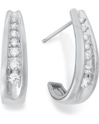 Macy's - Diamond Channel-set J Hoop Earrings In 14k White Gold (1/4 Ct. T.w.) - Lyst
