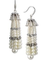Carolee - Silver-tone Crystal & Imitation Pearl Tassel Drop Earrings - Lyst
