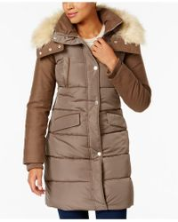French Connection | Faux-fur-trim Mixed-media Puffer Coat | Lyst