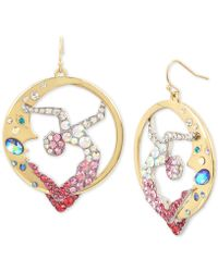 Betsey Johnson - Gold-tone Crystal Moon & Showgirl Round Drop Earrings - Lyst