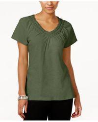 Karen Scott - Petite Crochet-neck Cotton Top, Created For Macy's - Lyst