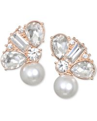 Badgley Mischka - Crystal & Imitation Pearl Stud Earrings - Lyst
