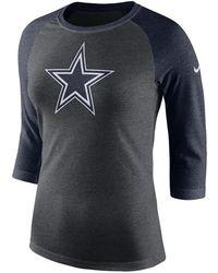 Lyst - Nike Women s Long-sleeve Dallas Cowboys Logo Wrap T-shirt in Blue c318ade40