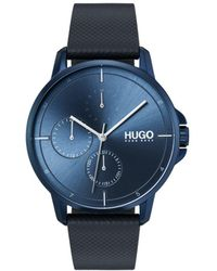 BOSS - #focus Blue Leather Strap Watch 42mm - Lyst