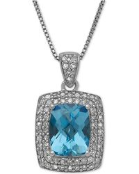Macy's - Swiss Blue Topaz (2-1/5 Ct. T.w.) And Diamond (1/3 Ct. T.w.) Pendant Necklace In Sterling Silver - Lyst