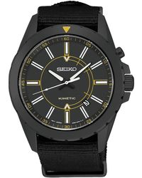 Seiko - Men's Automatic Kinetic Recraft Series Black Nylon Strap Watch 42mm Ska705 - Lyst