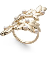 INC International Concepts - I.n.c. Gold-tone & Imitation Pearl Leaf Statement Ring, Created For Macy's - Lyst