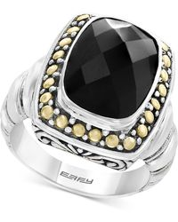 Effy Collection - Onyx (14 X 10mm) Ring In Sterling Silver & 18k Gold - Lyst