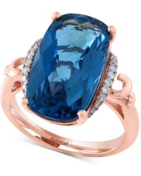 Effy Collection - Effy® London Blue Topaz (10-9/10 Ct. T.w.) & Diamond (1/6 Ct. T.w.) Ring In 14k Rose Gold - Lyst