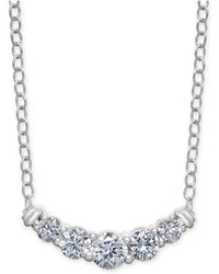 "Macy's - Diamond Curved Bar 18"" Statement Necklace (1/2 Ct. T.w.) In 14k White Gold - Lyst"