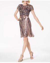 R & M Richards - Petite Sash-belt Sequined Dress - Lyst