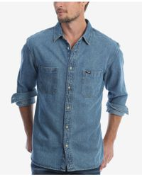 Wrangler - Long Sleeve Denim Utility Shirt - Lyst