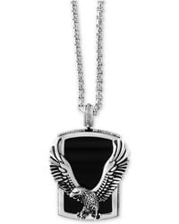 Effy Collection - Men's Onyx (31 X 20 Mm) Eagle Pendant Necklace In Sterling Silver And Oxidized Silver - Lyst