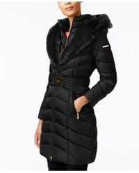 Laundry by Shelli Segal - Faux-fur-trim Belted Down Coat - Lyst