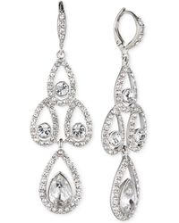 Givenchy | Silver-tone Crystal Pear Open Chandelier Earrings | Lyst