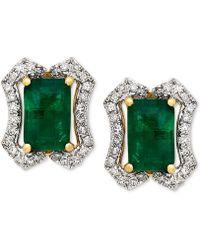 Macy's - Emerald (1-1/5 Ct. T.w.) & Diamond (1/6 Ct. T.w.) Stud Earrings (3/8 Ct. T.w.) In 14k Gold - Lyst